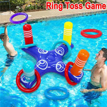 Inflatable Ring Throwing Ferrule Inflatable Ring Toss Pool Game Toy Kids Outdoor Pool Beach Fun Summer Water Toy