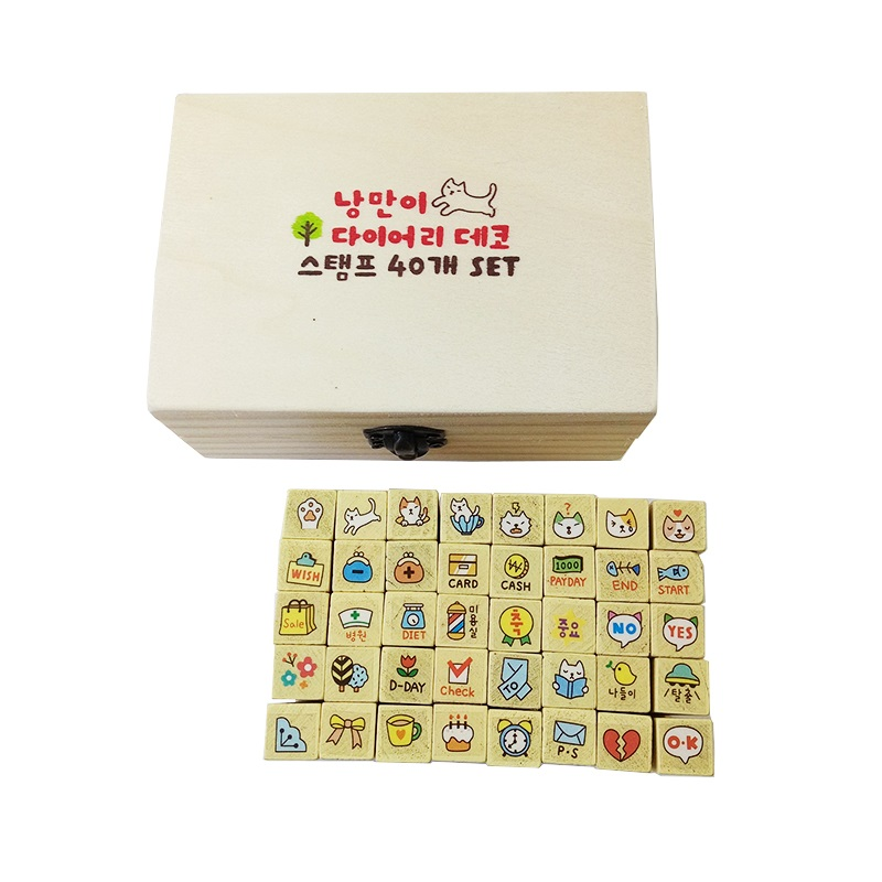 40 Pcs/set Kawaii Cartoon Cats Wooden Rubber Stamps Bullet Journal Supplies Stamps For Scrapbooking Home Decoration DIY Gift