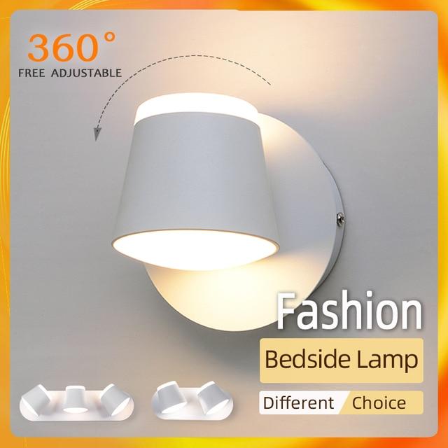 360 조정 가능한 LED 벽 램프 머리맡 조명 통로 벽 마운트 Luminaire Sconce 현대 호텔 벽 조명