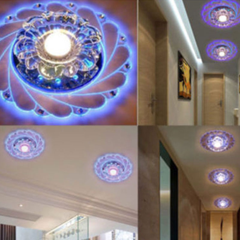Indoor Crystal LED Blue Light Ceiling Chandelier Lamp Bedroom Living Room