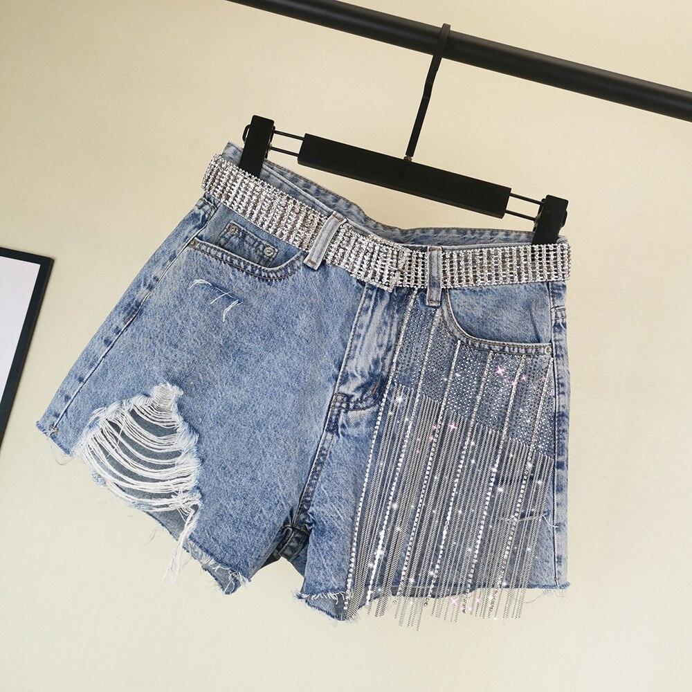 [EWQ] 2020 Spring Summer New Pattern Denim Patchwork Tassel Sequins High Street Shorts Women Fashion Tide AK66705XL