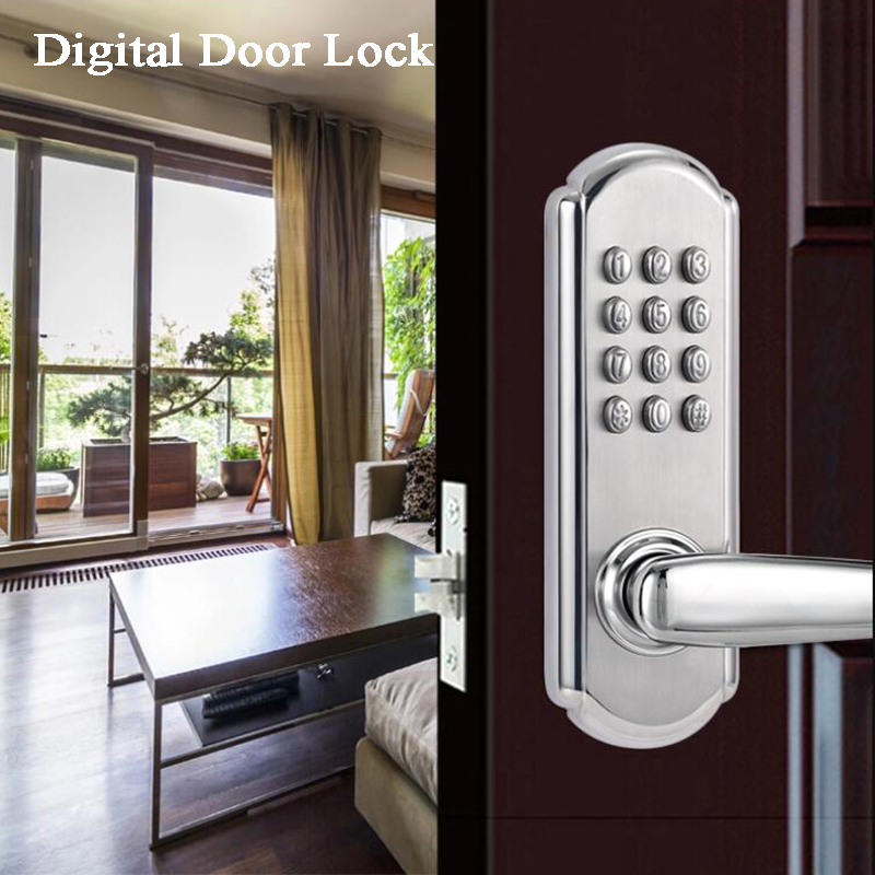 Digital Door Lock Gate opener Code/Password/Mechanical Key Waterproof Wooden/Iron door Office/Garden/House/loft/Home security image
