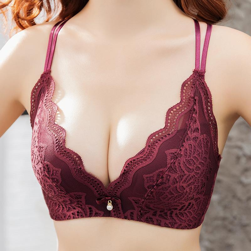 Liva Girl Sexy Wireless Padded Underwear Seamless Bra Women Lace Bra Back Cross Straps Push Up Bras