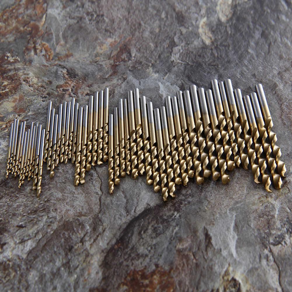 50 pièces 1/1.5/2.0/2.5/3mm titane enduit foret hélicoïdal en acier haut pour le travail du bois plastique et aluminium HSS jeu de forets