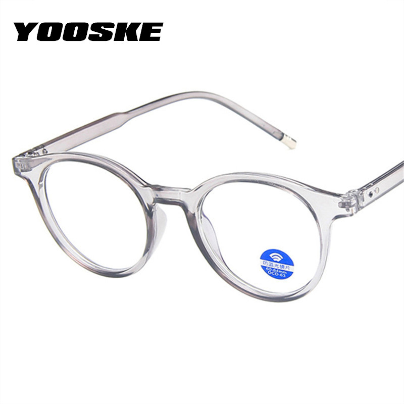 YOOSKE Anti Blue Light Glasses Frame Men Small Round Transparent Eyeglasses Frames For Women Trend Clear Computer Eyewear