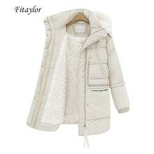 Fitaylorฤดูหนาวเสื้อแจ็คเก็ตผู้หญิงPLUSขนาดเสื้อเบาะขนาดกลางยาวSlim Hooded Parkasหญิงหิมะอบอุ่นCasual Outerwear