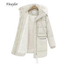Fitaylor冬の女性のジャケットプラスサイズの綿のコートミディアム付きパーカー女性暖かい雪カジュアルなアウターウェア