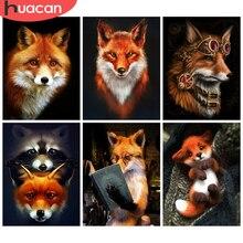 HUACAN – peinture diamant thème renard, Kit artisanal, broderie complète 5D, image d'animaux avec strass, décoration d'intérieur, soldes