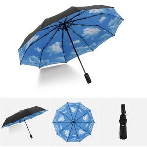 Image 2 - Full Automatic Oversize Reinforced Umbrella Three Folding Male Female Parasol Umbrella Rain Women Windproof Business Umbrella