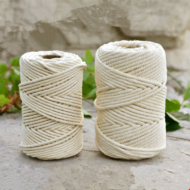 1-10mm Beige Cotton Twisted Braided Cord Rope Diy Handmade Home Textile Accessories Craft Macrame String Wedding Decoration