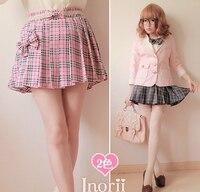 Princess sweet lolita skirt England student preppy style pink plaid culottes pleated short skirts bow tie bow mini skirt b0760