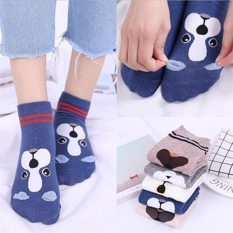 1 Pair Women Sock Spring Summer Three-dimensional Shallow Mouth Cartoon Female Cotton Invisible Cotton Japanese Cute Animal Sock