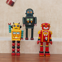 Retro Robot Model Handicraft Resin Cartoon Robot Decorations Coffee Bar Desktop Cabinet Furnishing Articles Children Toys Gifts retro archaize silver horse head statue animal bust luxury model resin craftwork home furnishing articles l2427
