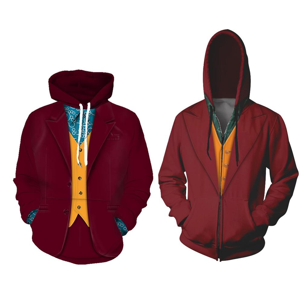 Men Women Joker Arthur Fleck Cosplay Hoodies Joaquin Phoenix Joker Costume Sweatshirt Jackets