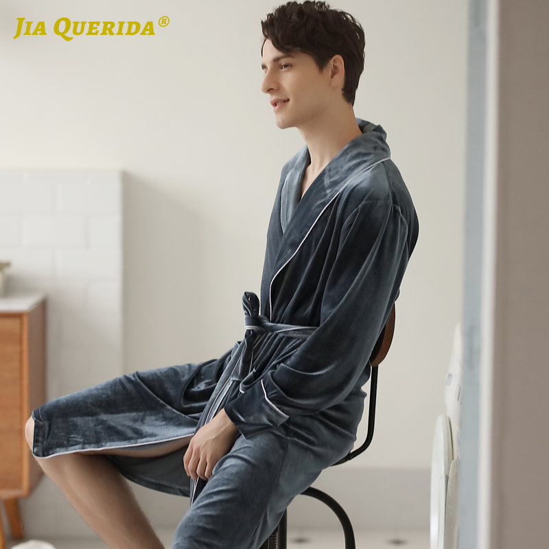 Night Robe Gray Velvet Robe For Men Men Kimono Mens Robe Long Fashion Style Casual Style Yukata Soft New Bathrobe Housecoat