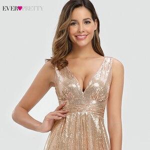 Image 5 - Женское вечернее платье с блестками Ever Pretty, розовое золотистое платье трапеция в стиле Саудовской Аравии, с V образным вырезом, для торжественных вечеринок, EP00825RG, лето 2019