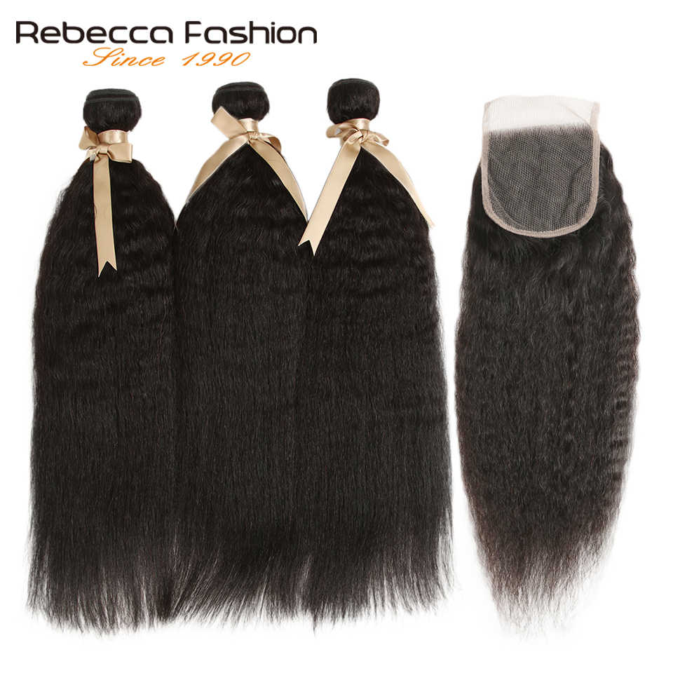 Rebecca Brazilian Kinky Straight Hair Bundles With Closure Remy Human Hair Weaves 3 Bundles With Closure