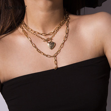 IngeSight.Z Punk Multi Layer Chunky Lasso Choker Necklace Collar Statement Open Love Heart Pendant for Women Jewelry