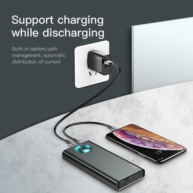 Baseus 20000mAh Power Bank USB Type C PD Fast Quick Charge 3.0 20000 mAh Powerbank For Xiaomi iPhone 11 Pro Max Portable External Battery Charger