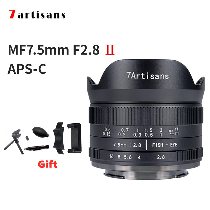 7 Artisans 7.5mm F2.8 II APS-C Ultra-Wide-Angle Fisheye Camera Lens a6000 Sony E Mount Nikon Z Mount Fuji XF Macro 4/3 Mount