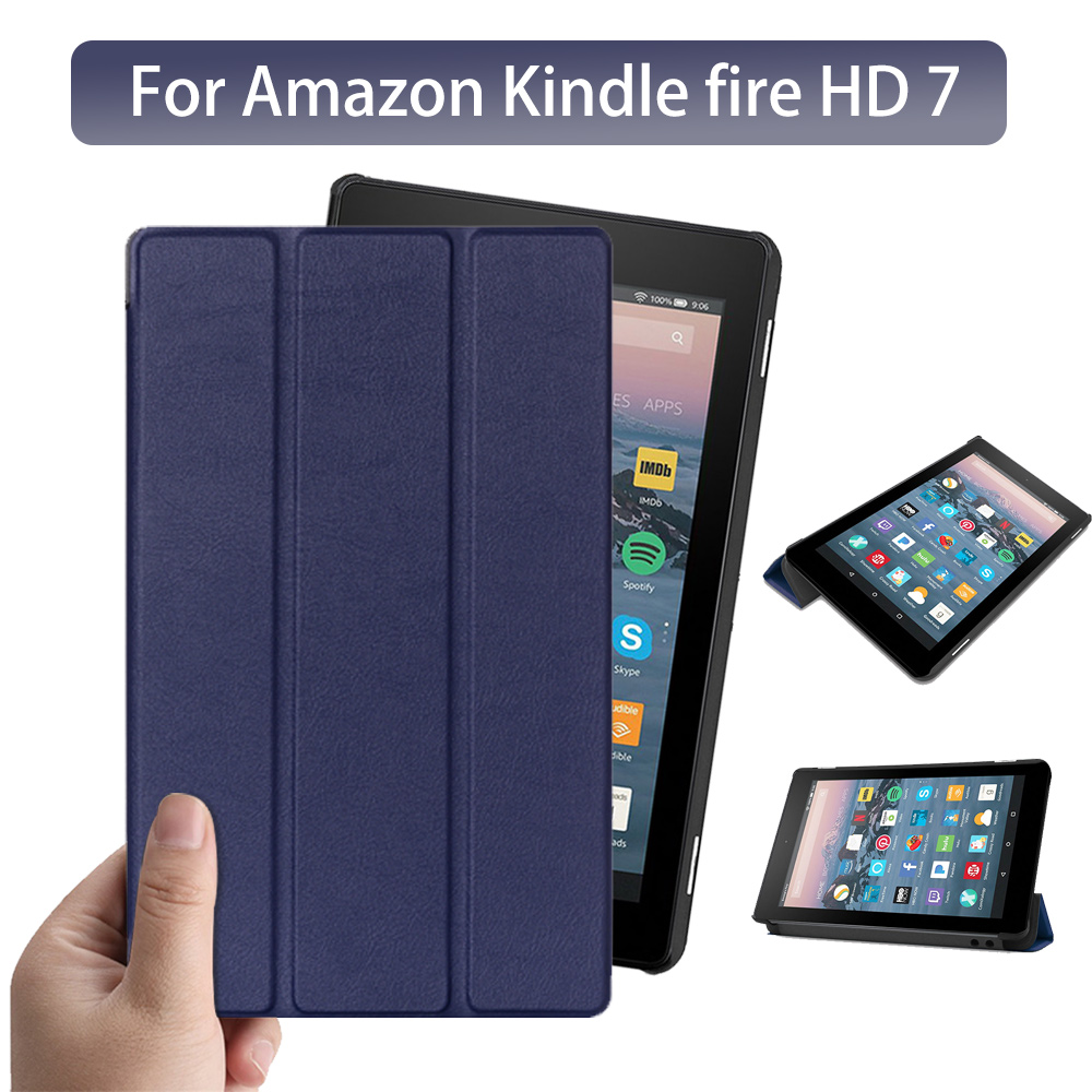 Protective case for Amazon New Fire 7 2017 <font><b>2019</b></font> tablet for <font><b>kindle</b></font> fire 7 9th generation tablet PU leather <font><b>cover</b></font> case +free gift image