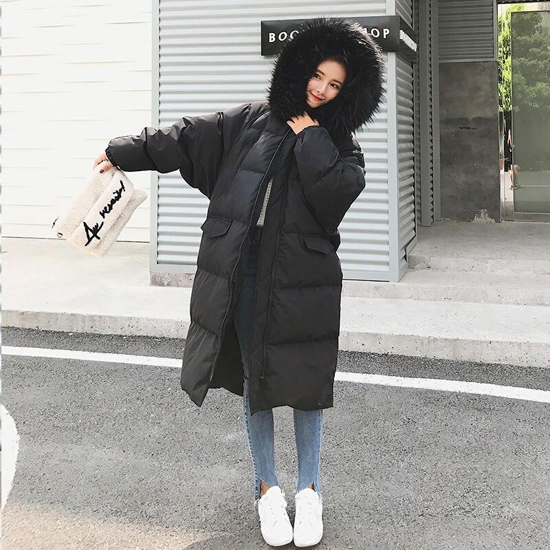 Grande taille fourrure ample à capuche parka femmes épaissir chaud Long manteau hiver veste noir solide fermeture éclair vers le bas coton Outwear 2019 mode