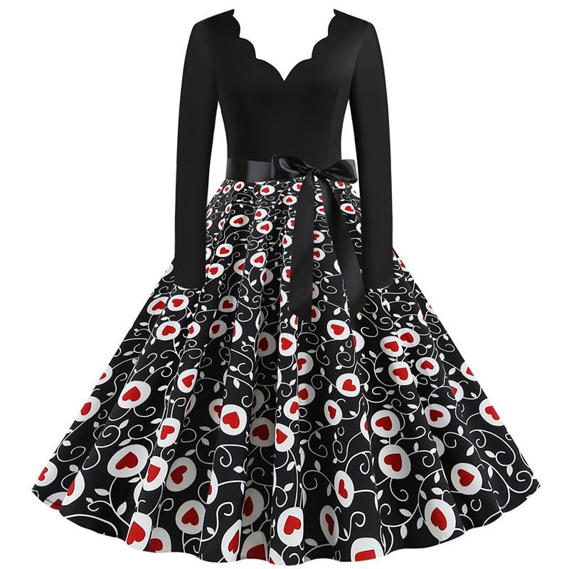 Women Long Sleeve Winter Vintage Dresses Sexy Black Music Note Print V-neck Rockabilly Pin up Party Dress Vestidos Plus size 649