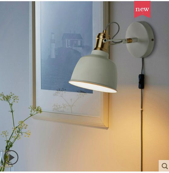 Bedside lamp small wall lamp bedroom reading lamp Nordic simple light luxury creative switch wall lamp