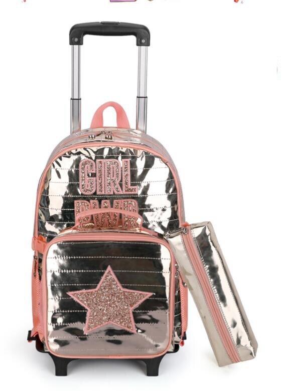 School wheeled backpack bag for girls student school Rolling backpack bag wheels children school Trolley backpack Bag for kids School Bags  - AliExpress