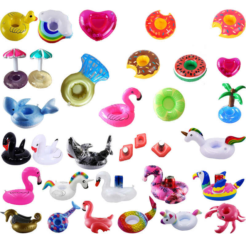 Flamingo Inflatable Cup Holder Floating Drink Coasters Inflatable Holder Unicorn Water Children Toys Floating Cup