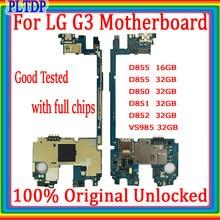 Versão oficial para lg g3 d855 d850 d851 d852 vs985 placa-mãe 16gb/32gb original para lg g3 placa mãe substituída, frete grátis, frete grátis
