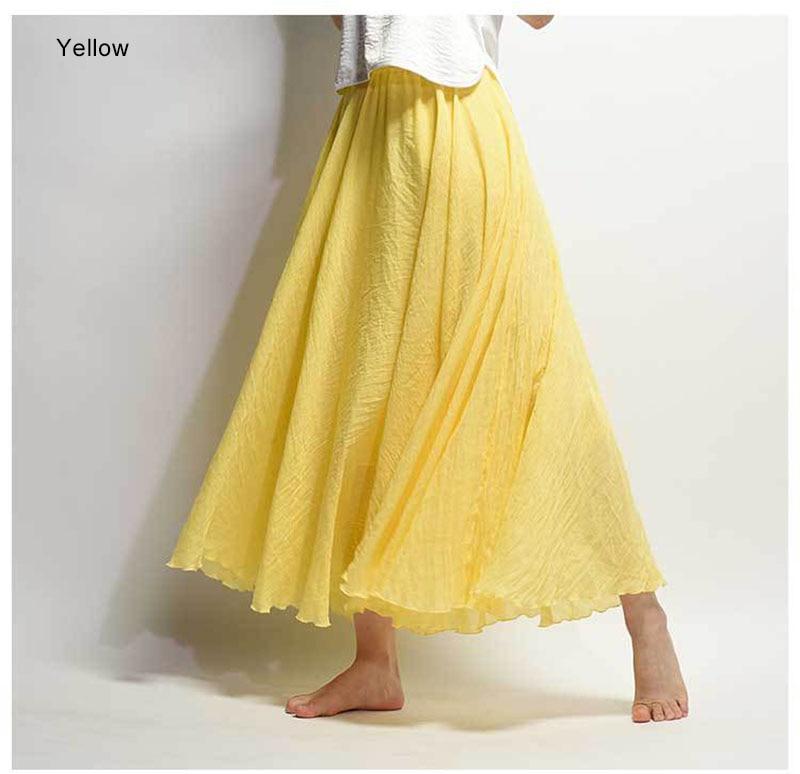 Women's Elegant High Waist Linen Maxi Skirt 2021 Summer Ladies Casual Elastic Waist 2 Layers Skirts saia feminina 20 Colors SK53 3