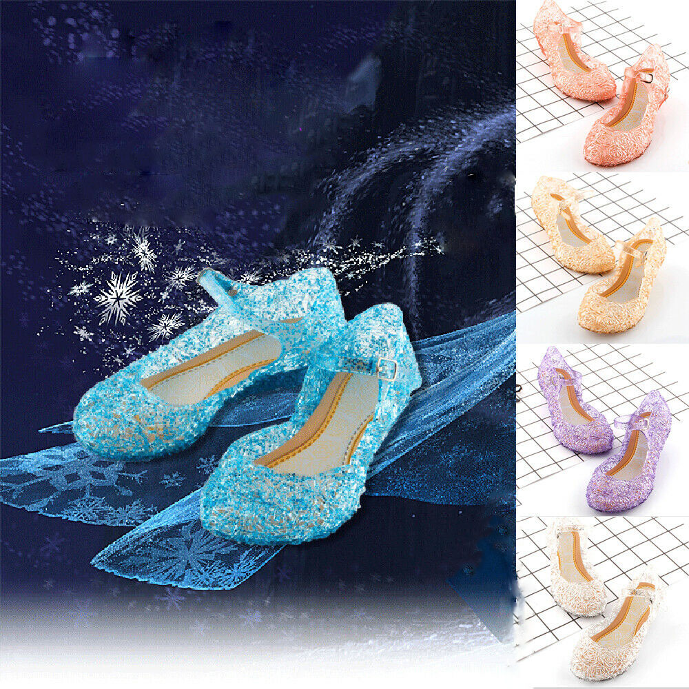 Kids Girls Crystal Jelly Sandals Princess Elsa Cosplay Dance Dress Up Party Sandals Hollow Out Fashion Children's Shoes