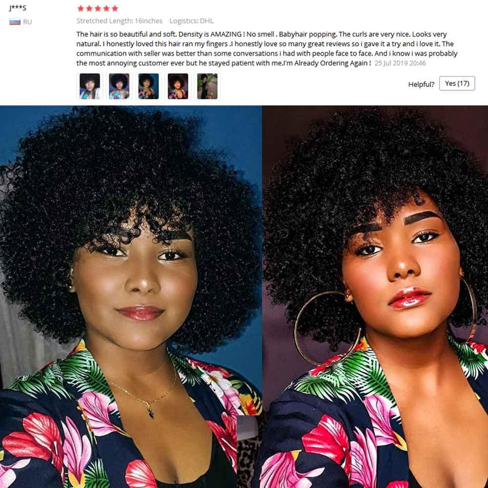 Afro crépus bouclés perruque avec frange partie profonde 13x6 dentelle avant perruques de cheveux humains pour les femmes noires courtes perruques de cheveux humains Bob mongol - 2