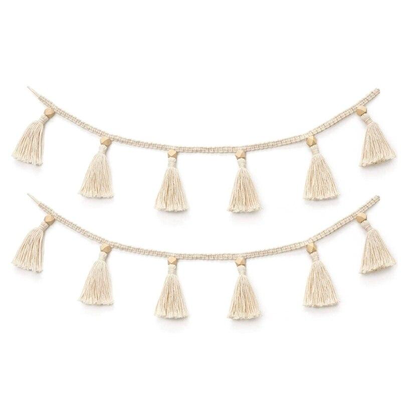 Handmade Woven Tassel Garland Decor For Rattan Woven Basket Bohemia Macrame Wooden Beads Wall Hangings Ornament Home Decoration