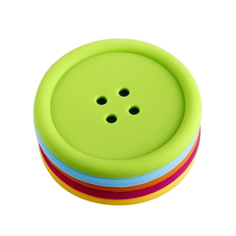 1 Pcs Tabel Protector Tatakan Tombol Dekorasi Silicone Coaster Kaca Slip Pad Bantal Bulat Teh Cangkir Kopi Mug Tahan Panas mat