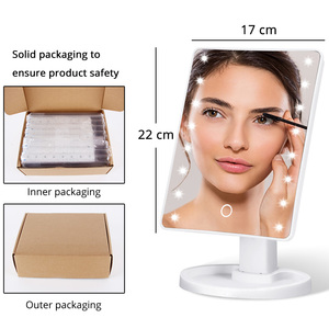 Image 5 - Lusterko kosmetyczne z podświetleniem LED podświetlane lusterko kosmetyczne ze światłem do makijażu regulowane światło 16/22 szczotka do rzęs z ekranem dotykowym