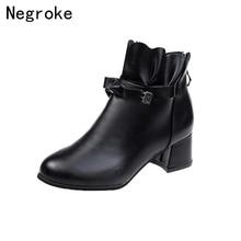 все цены на New Women Boots Comfy Square High Heel Ankle Boots Fashion Round Toe Zipper Boots Autumn Winter Ruffle Women Shoes онлайн