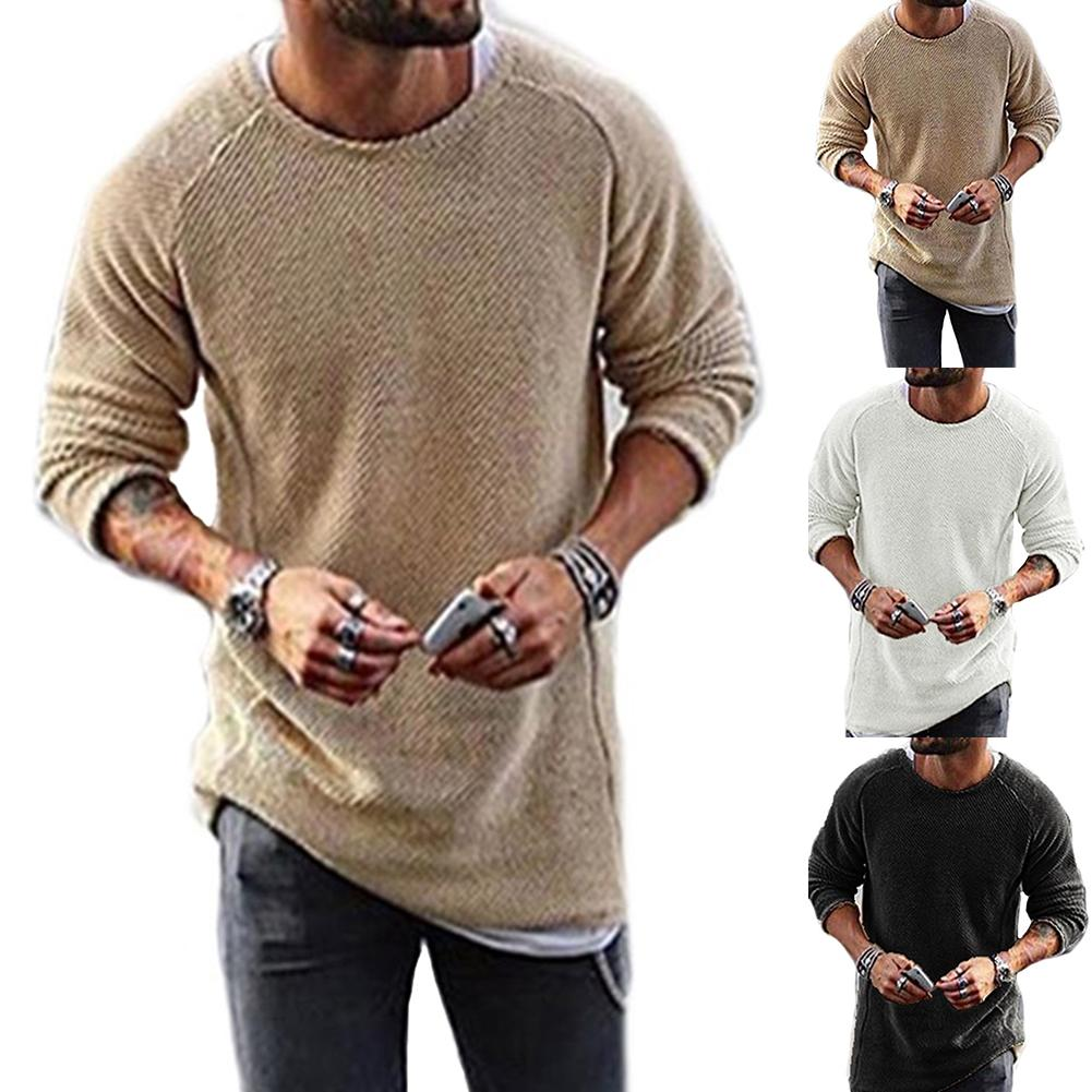 New Autumn New Casual Solid O Neck Thick Sweater Men Pullover Sweaters Casual Jumper Male Knitted Korean Style Clothes Plus Size