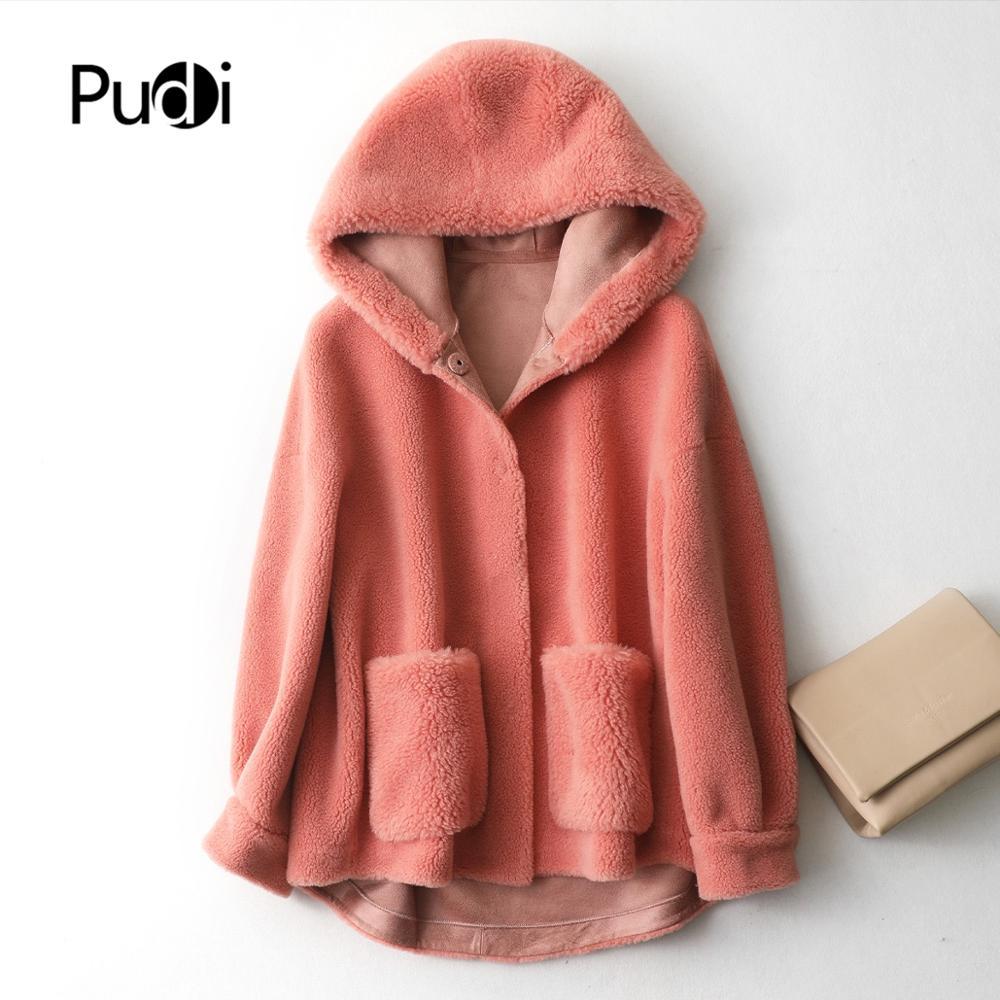 PUDI A59325 Lady 30% Wool Fur Coat Hood Jacket Over Size Parka Women Winter Warm Genuine Fur Coat