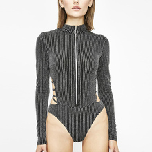Sexy Backless Turtleneck Zipper Elastic Glitter Silver Striped Bodysuits Women Sequined Hollow Out L