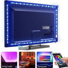 USB ไฟ LED สำหรับห้องครัวภายใต้ตู้ RGB LED Strip DC 5V SMD 5050 แสงพื้นหลังทีวีตู้ตู้เสื้อผ้าโคมไฟระยะไกล