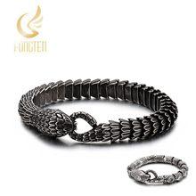 3 Styles New Arrived Stainless Steel Snake Charm Bracelet Men Women Punk Vintage Hip Hop Fashion Zircon Jewelry