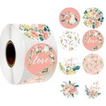 Obrigado da flor etiquetas do selo da folha de ouro etiquetas rosa festa de casamento favores envelope suprimentos artigos de papelaria adesivos 50-500 pces