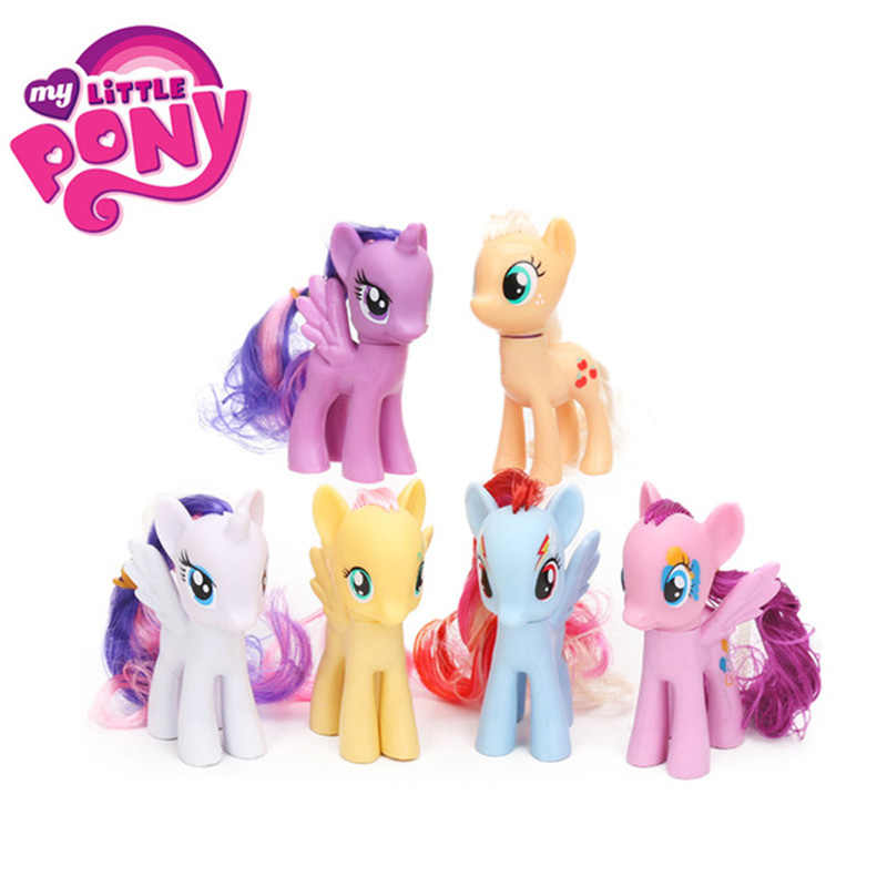 Confezione da 6 My Little Pony Giocattoli Set Friendship is Magic Rainbow Dash Twilight Sparkle Pinkie Pie Rarità di Azione del PVC figure Bambole