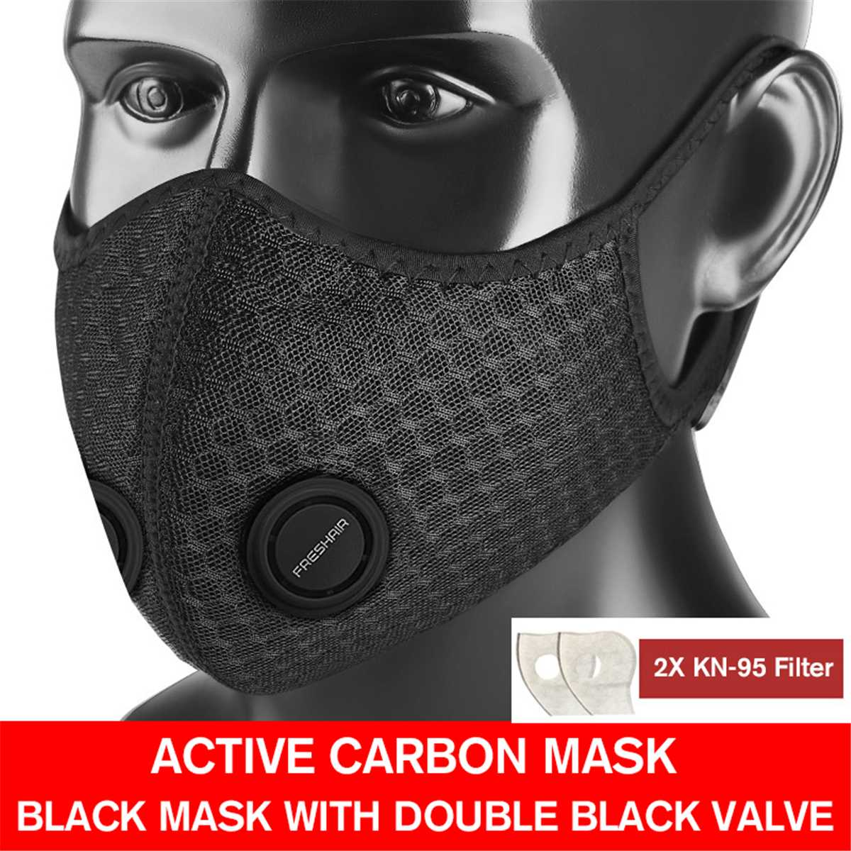 1/5Set KN-95 Anti PM2.5 Dust Mask Windproof Mask Double Blue Valve With 2X Filter Cycling Sport Bicycle Bike Sport Face Mask