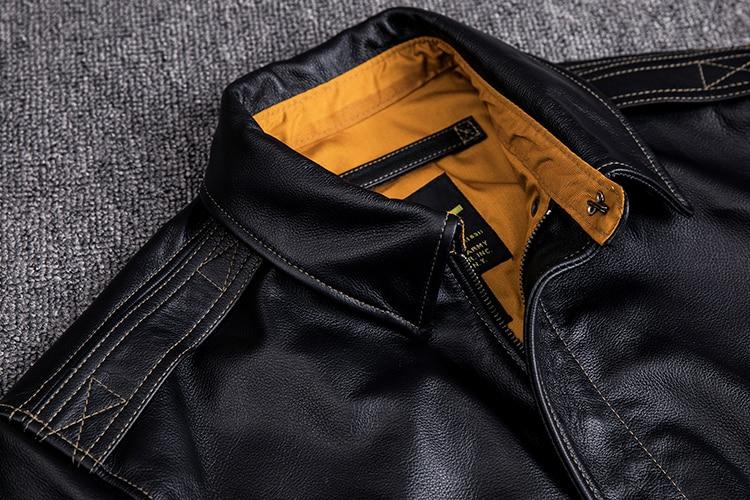H54d71997e29c4f268c20680553a785eey MAPLESTEED Men Leather Jacket Military Pilot Jackets Air Force Flight A2 Jacket Black Brown 100% Calf Skin Coat Autumn 4XL M154