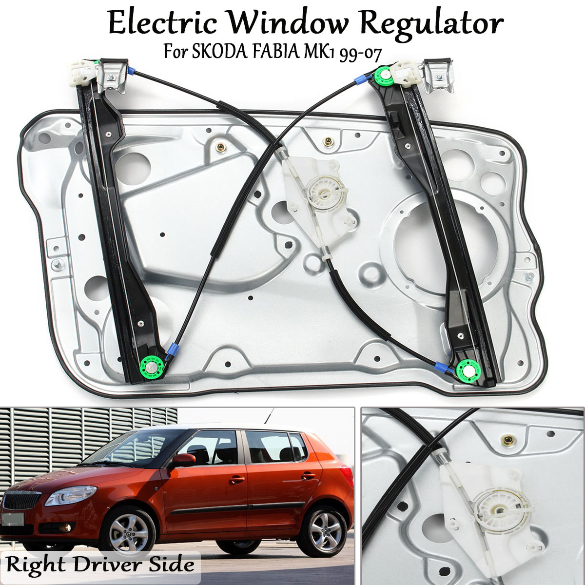 99-08 * 5 Puertas Derecho Delantero Ventana Regulador Con Panel Para Skoda Fabia Mk1