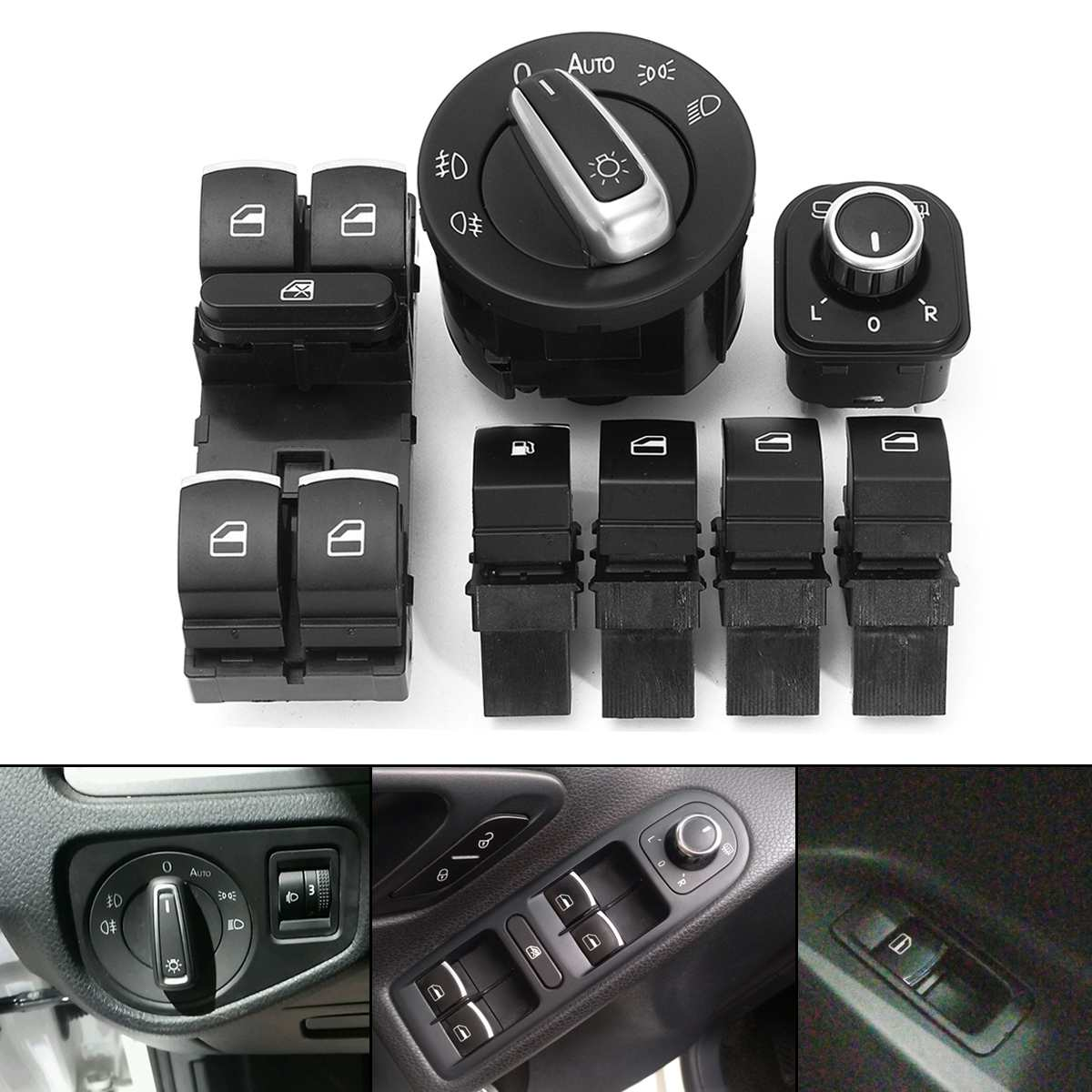 7pcs Car <font><b>Headlight</b></font> Mirror Window Switches 5ND 959 565A 5ND 959 857 For <font><b>VW</b></font> <font><b>Golf</b></font> MK5 6 7 Jetta <font><b>MK3</b></font> 4 Passat B6 B7 image