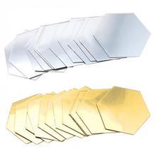12 шт 3D зеркальные шестигранные украшения DIY съемные настенные Стикеры для гостиной Переводные художественные украшения для дома